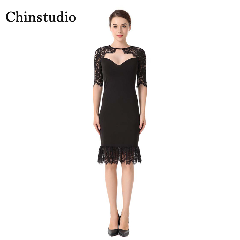 Chinstudio Stitching Lace Lacing Round Neck Three Quarter Sleeved Knitted Zipper Dress Spring Slim Sexy Party backless Dress