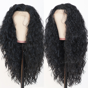 Image 2 - Black Hair Loose Curly Lace Wigs Long Natural Baby Hair 180 Density Glueless Heat Resistant Synthetic Lace Front Wigs for Women