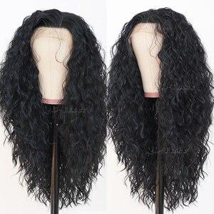 Image 2 - Zwart Haar Los Krullend Lace Pruiken Lange Natuurlijke Baby Haar 180 Dichtheid Lijmloze Hittebestendige Synthetische Lace Front Pruiken voor vrouwen