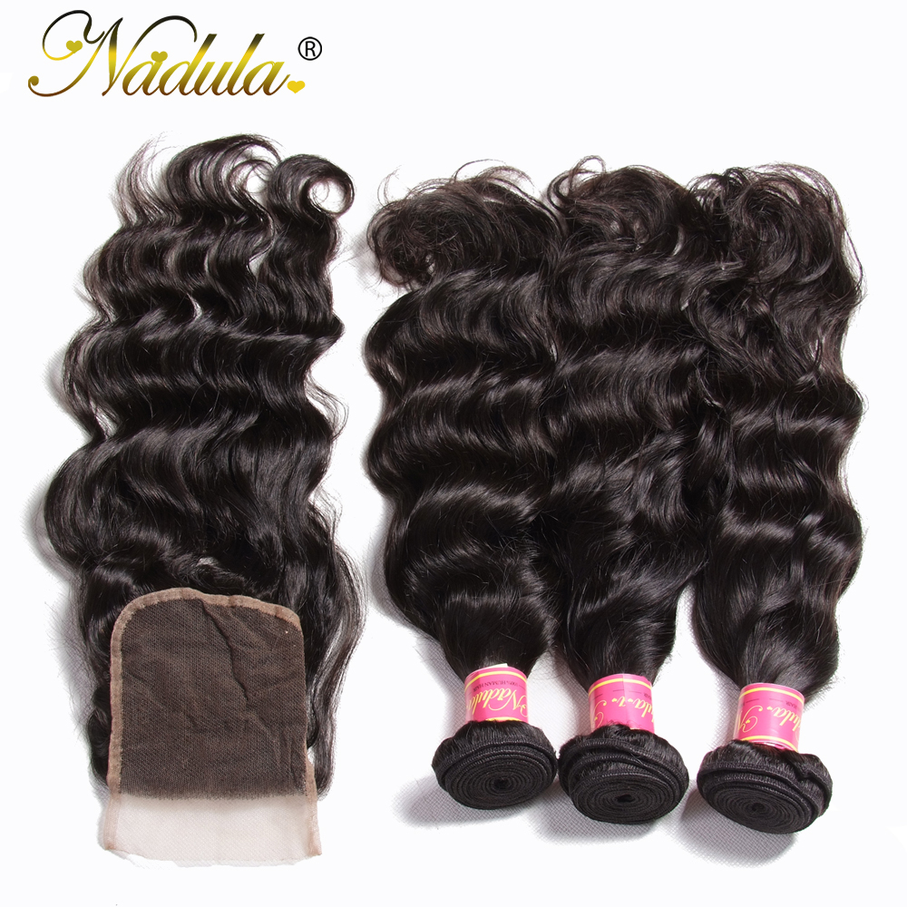 Nadula Hair Malaysian Natural Wave Bundles With Closure 100 Human Hair With 4 4 Lace Closure