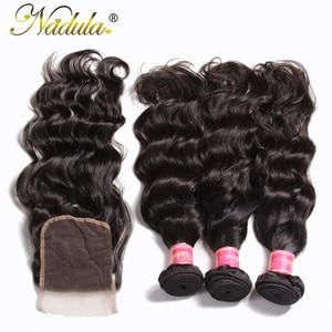 Image 3 - Nadula שיער מלזי טבעי גל חבילות עם סגירת 100% שיער טבעי עם 4*4 סגירת תחרה חלק חינם צבע טבעי רמי שיער