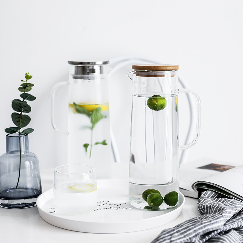 Yilala Glass Water Bottle 300ml Transparent Cup Milk Mug 1500ml Water Pot with Wooden Stainless Steel Cover Lid