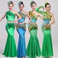 Minoria pavão trajes de dança Dai dançar vestidos de lantejoulas tassel exposto umbigo traje dança popular chinesa mulheres da roupa do desgaste