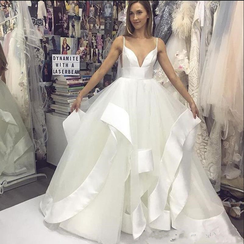 Sexy A Line Wedding Dresses With Spghetti Backless Tulle Satin Bridal Gowns For Beach Wedding Simple Design Reasonable Price