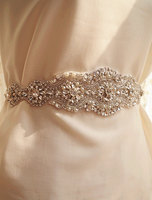 Clear Bridal Sash Applique Pearl Beaded Rhinestone Applique Bridal Belt