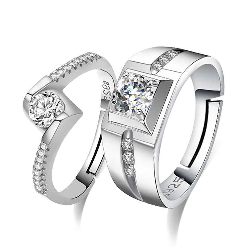 100% 925 di modo d'argento lucido di cristallo anelli lovers'couple monili ladies'finger wedding ring regalo no dissolvenza Anti allergia