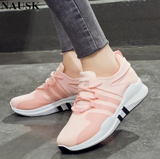 62bdfa593b NAUSK 2018 branco rosa air mesh estudante respirável lace up mulheres  sapatos mulher tênis vulcanizados sapatos