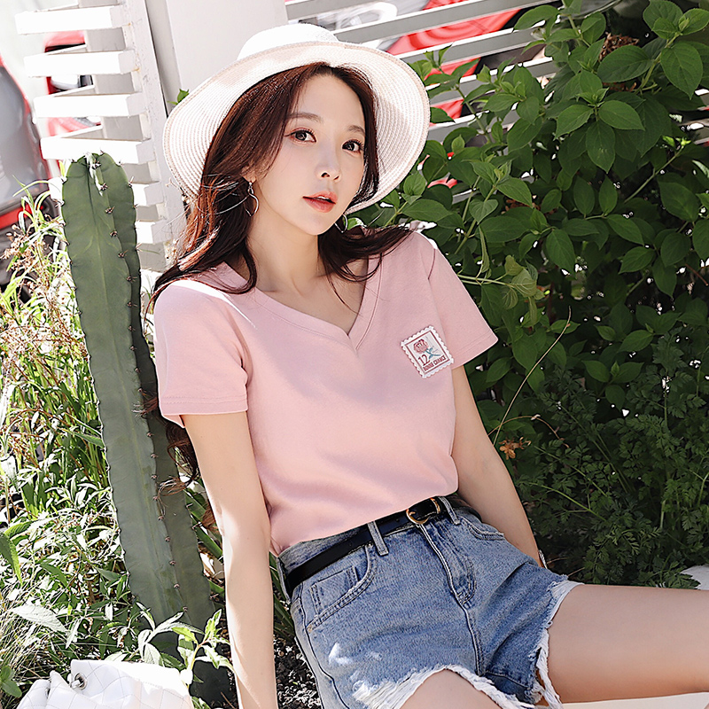 Dabuwawa Women V-neck Cotton T-shirts 2019 New Summer Pink Fashion Patch Tees Girls Ladies Causal Loose Tops  DN1BTS024