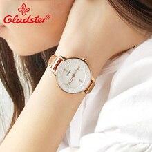 Gladster японский кварцевый механизм Женские часы люксовый бренд золото женское из нержавеющей стали наручные часы водонепроницаемый подарок дамское платье часы