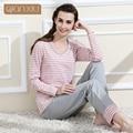 Womens Autumn Fashion Lovely Knitted 100% Cotton Sleepwear Pajama Sets Women Stripe Lounge Pijama Mujer M/L/XL/2XL 1411