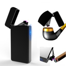 New Dual Arc Lighter Electric USB Cigar Rechargeable Plasma Cigarette Double Isqueiro Encendedor Tobacco Pipe sigara