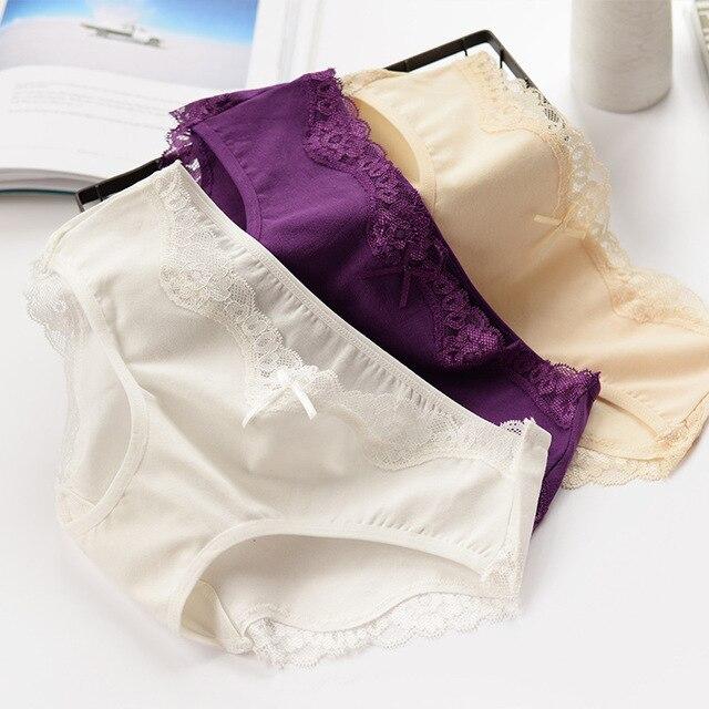 4pcs mix colors Fashion Comfort sexy Lace Underwear women Seamless Panties for women bow Briefs women kz320