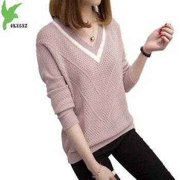 новый свитер с V образным вырезом женский весенне осенний тонкий