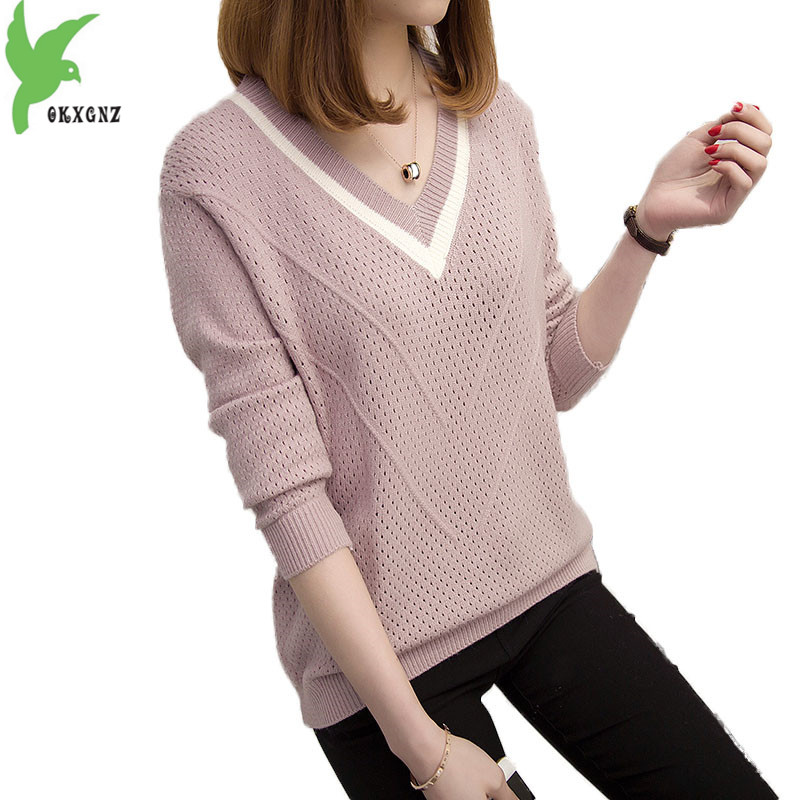 New V-neck sweater women spring autumn thin pullover Knitted sweaters female Long sleeve Bottoming sweaters Plus size tops 2192