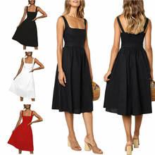 Женское платье без рукавов на бретельках с открытой спиной летний