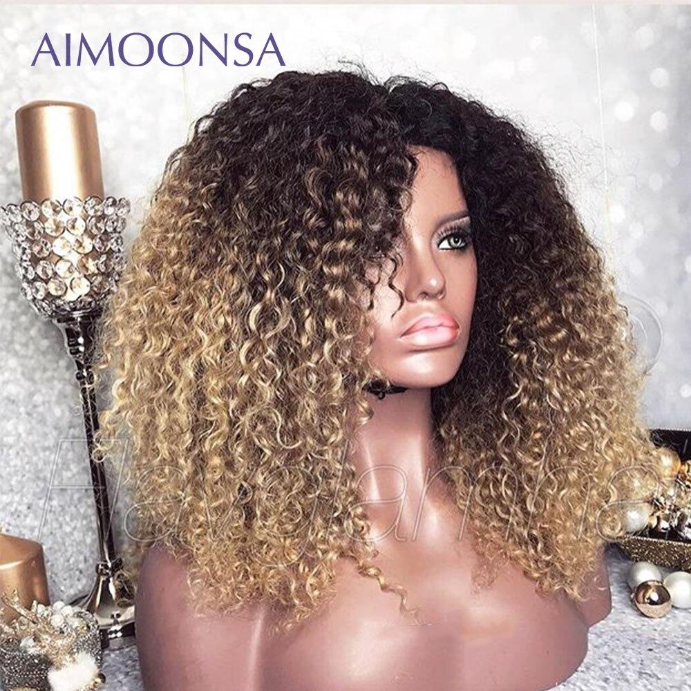 Mongol afro kinky peruca encaracolado 13x6 ombre peruca de cabelo humano 250 densidade colorido perucas da parte dianteira do laço natural linha fina remy aimoonsa