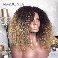 Mongolian Afro Kinky Curly Wig 13x6 Ombre Wig Human Hair 250 Density Colored Lace Front Wigs Natural Hairline Remy Aimoonsa