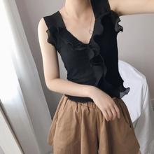 Girls Knitted Ruffles Solid Camis Short Tops Sleeveless Shirts Female Sweet Camisoles Tanks Crop Knitwear For Women