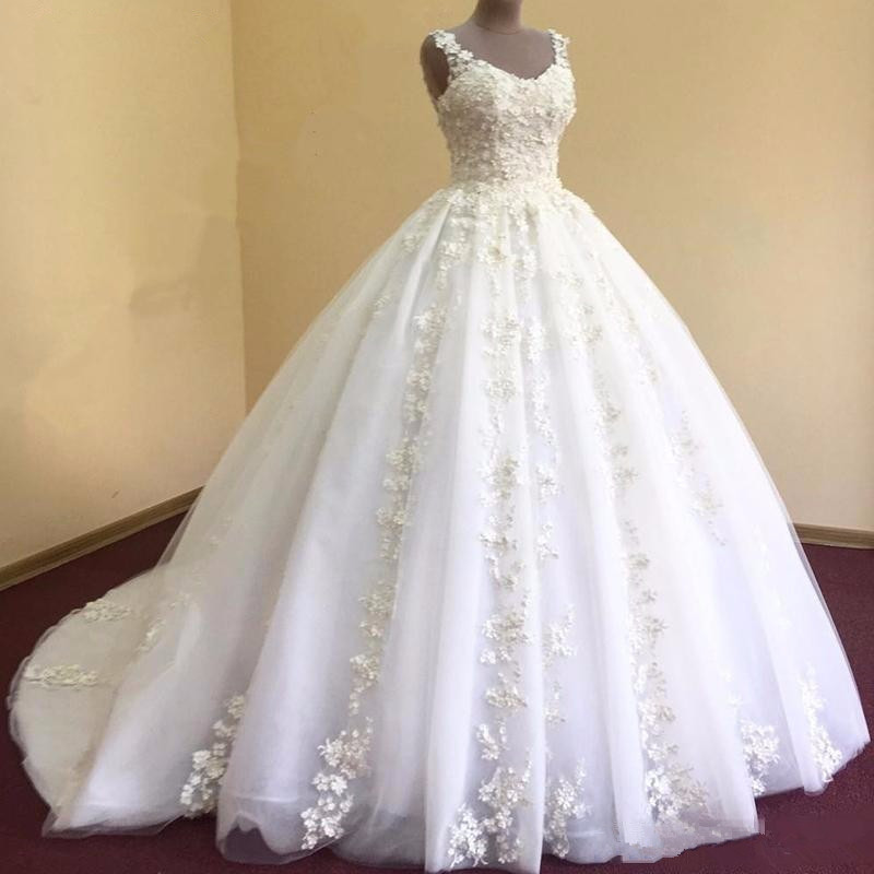 2018 Luxury Lace Ball Gown Sleeve Wedding Dresses Sweetheart Sheer