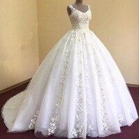 Katristsis d Vestidos De Novia Wedding Dresses 2018 Lace Appliques Court Train Plus Size Arabic Bridal Wedding Dress Custom