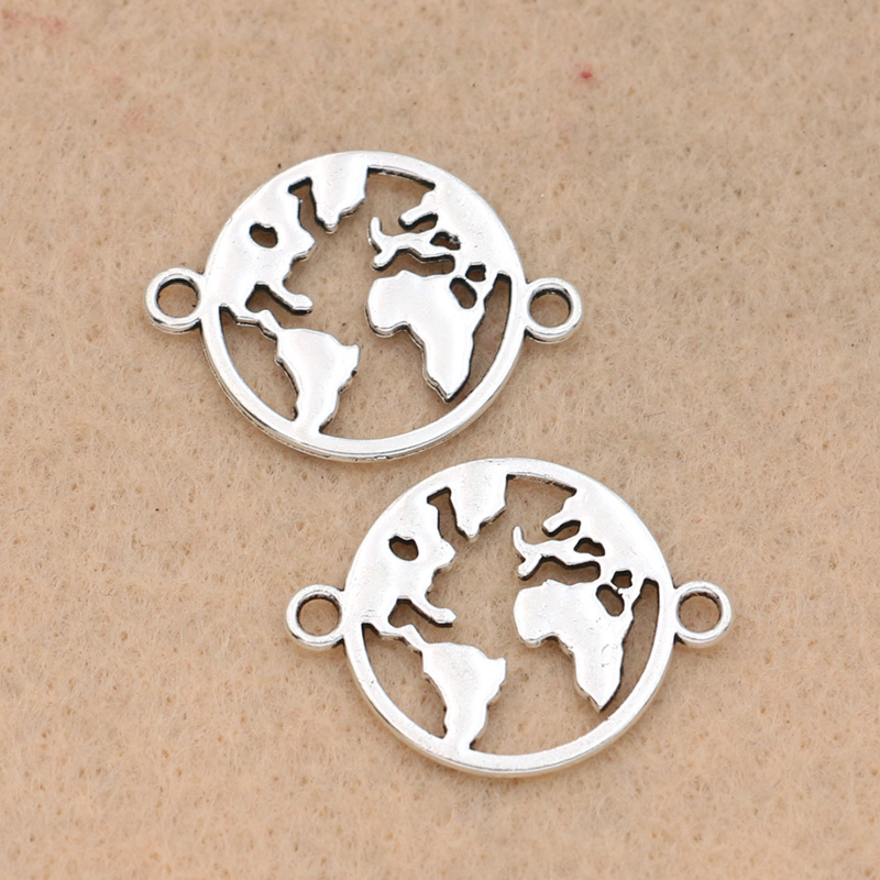 10pcs Tibetan Silver Plated Globle Map Connector for Jewelry Making Bracelet Necklace Handmade Jewelry Accessories DIY 20mm