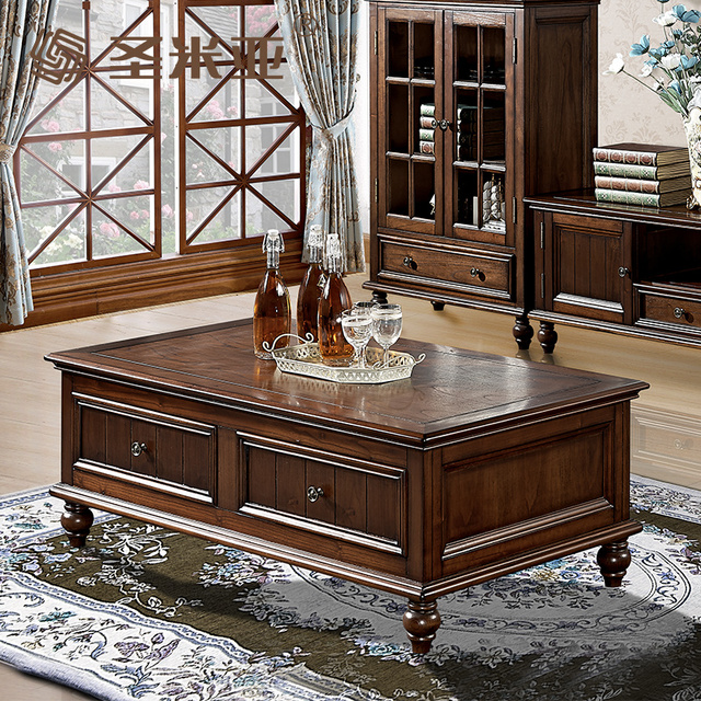 Admirable Us 2398 8 American Country European Solid Wood Coffee Table Minimalist Long Complex To Do The Old Ancient Tv Cabinet Combination Teasidee In Coffee Interior Design Ideas Gentotryabchikinfo