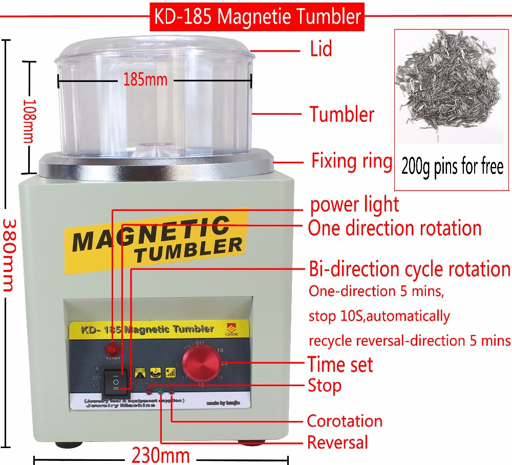 CE KT KD 185 Magnetic Tumbler Jewelry Polisher Finisher Finishing Machine Magnetic Polishing Machine AC 110V