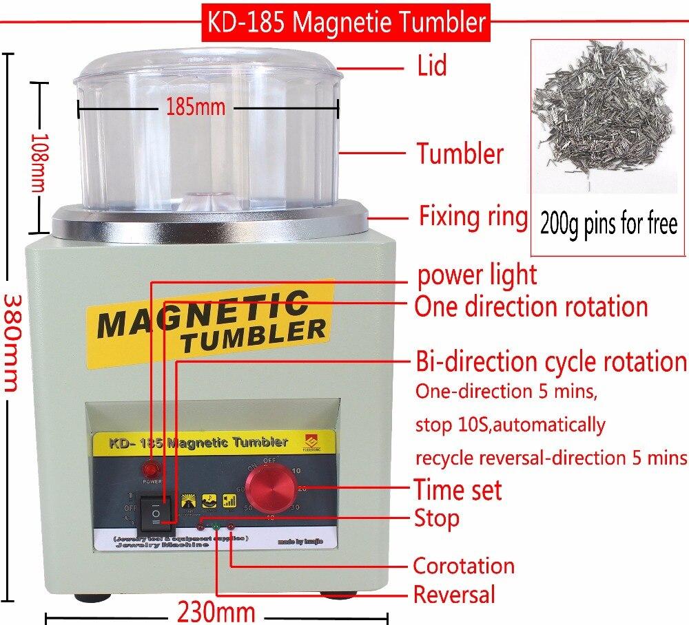 CE! KT/KD-185 Tumbler Magnético Jóias Polidor Finalizador Máquina de Acabamento, máquina de Polimento magnético AC 110 v/220 v Disponível