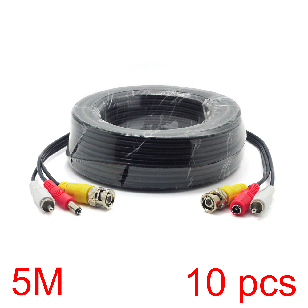 10x 5M/16FT BNC RCA DC Connector Video Audio Power Wire Cable For CCTV Camera