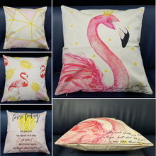 Pink Flamingo Tropical Leaf Cushion Cover Pineapple Geometric Polyester Throw Pillow Home Decoration Sofa Decorative Pillowcase цены