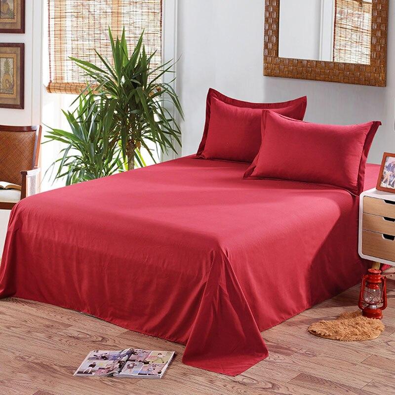 Простыня одноцветная плоская Простыня Постельное белье высокого качества постельное белье - Цвет: pure red wine