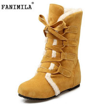 size 30-52 russia women round toe height increasing mid calf boots woman cross strap warm fur winter half shoes footwear