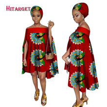 2017 african dresses for women african bazin slash neck dress Dashiki women dress cotton african print clothing plus size WY2238(China)