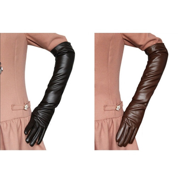 Hot Sale Women 7 Colors Opera Evening Party Gloves Faux Leather PU Over Elbow Long Glove 2017 New 4