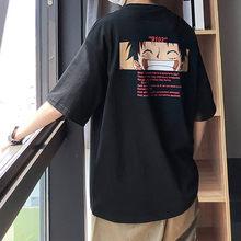 2021 крутая футболка, повседневная цельная футболка для мальчиков, летние топы с аниме, футболки с рукавом до локтя, Футболка Луффи, уличная од...