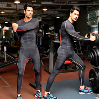 1 SET=TOP+PANTS/men compression t shirts Men's quick drying breathable fitness Long Johns Underwear body shapers crossfit