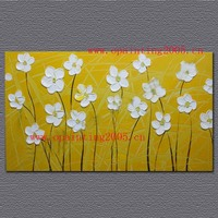 Handmade Thickness Oil Flowers Painting On Canvas Wall Art Yellow Painting For Home Decor Modern Abstract White Flower Pictures