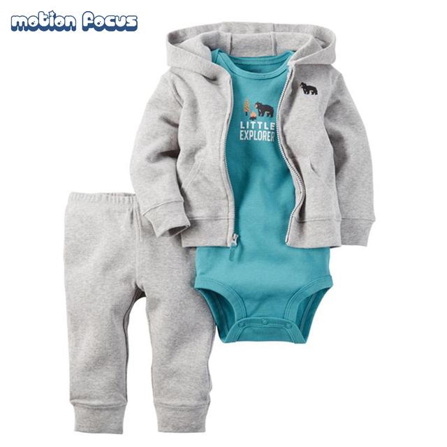 Ropa del bebé del Algodón Recién Nacido Mameluco Del Bebé para la muchacha del muchacho trajes de cuerpo de manga Larga mono del bebé Cardigan set Body Pantalones traje
