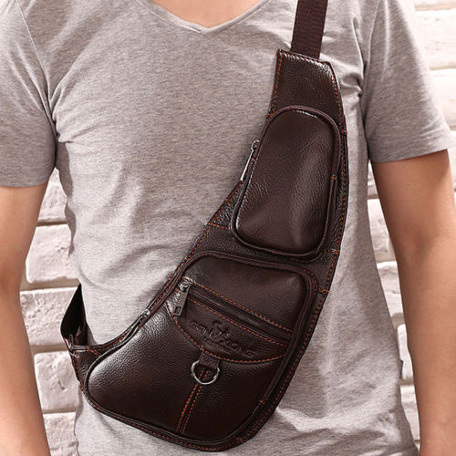 Men Fashion Vintage Genuine Leather Travel Riding Motorcycle Messenger Sling Pack Chest Bag men vintage genuine leather travel riding motorcycle messenger shoulder sling day pack chest bag