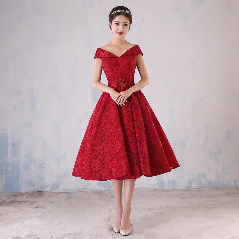 Online Shop Dark Red Short Lace Prom Dress Off Shoulder Corset ...