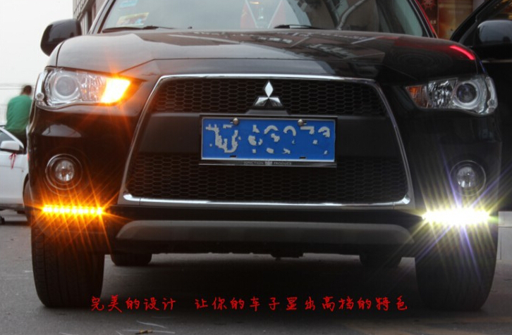 Free shipping top quality super bright waterproof with turn signal LED DRL led daytime running light for Mitsubishi outlander north america free shipping super bright 54w led corn light waterproof 100v 300v ul certified 12pcs lot for art museum