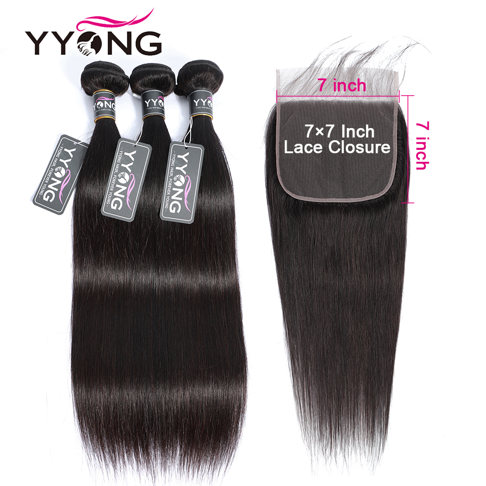 Yyong 7×7 Closure With Straight Bundles Remy Indian Straight Bundles With Closure Human Hair Weave Bundles With Lace Closure