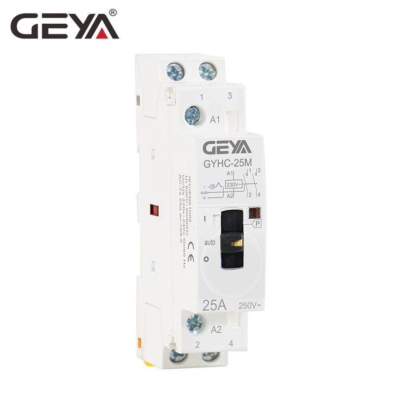 GEYA GYHC Modulaire Contacteur 2 P 16A 20A 25A 2NO ou 2NC 220 V Contrôle Manuel Ménage Contacteur Din Rail type