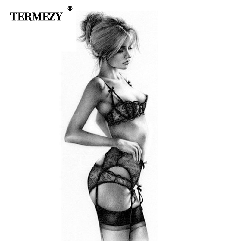 TERMEZY New Plus Size Bra Women Sexy Bra Set Intimates Embroidery Underwear Half Cup Lingerie Black Panty With Garters Sets