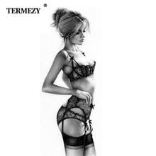 TERMEZY חדש בתוספת גודל חזיית נשים סקסי חזיית סט מקורבי רקמת תחתונים חצי כוס הלבשה תחתונה שחור תחתונים עם ביריות סטים