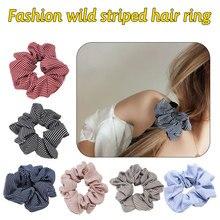 New 1PC Hair Band Rubber Headwear Cloth Strip Rainbow Scrunchie Retro Grid Printed Striped Accessories Coconut Tree