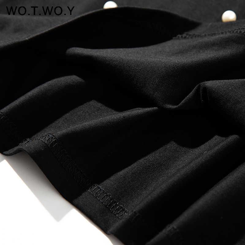 WOTWOY 2020, novedad de verano, camiseta con cuentas de perlas, camisetas informales de algodón sueltas para mujer, camisetas de manga corta con cuello redondo, camiseta negra de alta calidad