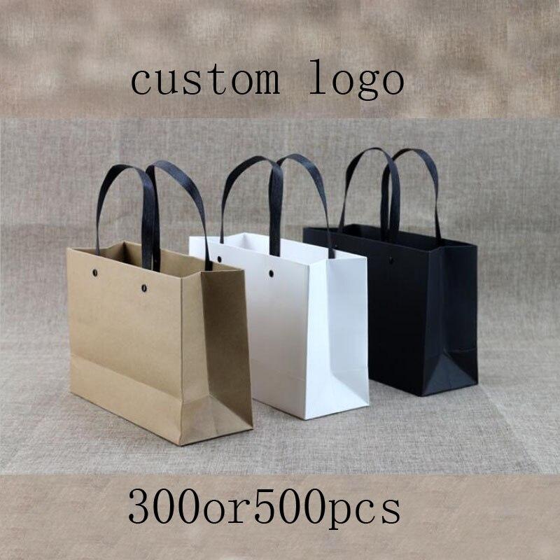 100pcs Custoom logo Shopping bags 250g high grade paper bags black white kraft paper bags with