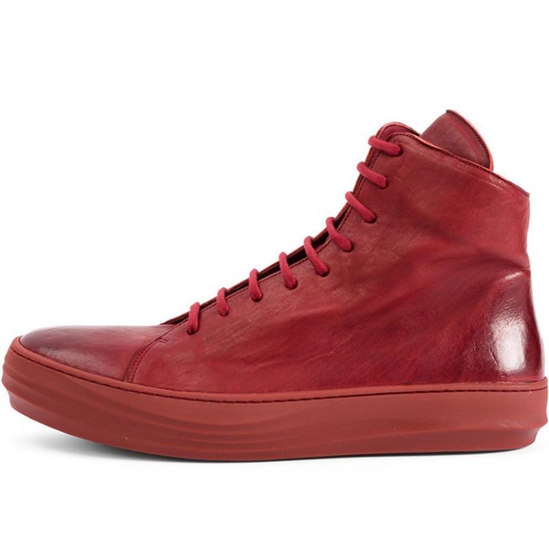 Harajuku Marca Nuevos Casuales Zapatillas white Deporte Gruesa Plataforma Cuero Skateboard Zapatos Sapato Red Hip Hop Genuino De Alta Bailando Hombres Top Masculino raqf8gr