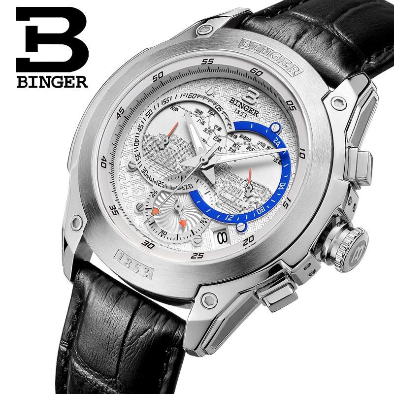 Switzerland watches men luxury brand Wristwatches BINGER Quartz watch  leather strap Chronograph Diver glowwatch B6013-4 switzerland watches men luxury brand wristwatches binger quartz watch leather strap chronograph diver glowwatch b6012 5
